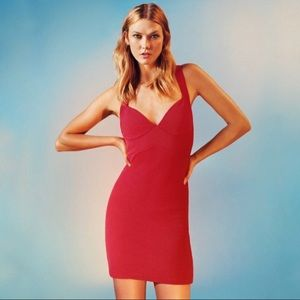 TOPSHOP Cocktail Ribbed Red Bodycone Dress